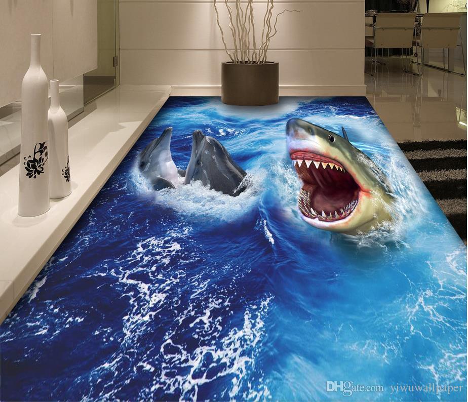 Foto personalizada de cualquier tamaño Shark 3D piso impermeable autoadhesivo decoración del hogar