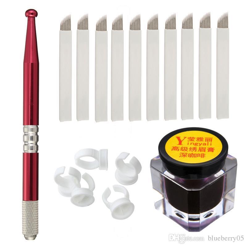 NOUVEAU semi-permanent Sourcils Maquillage Microblading Manuel Stylos de tatouage + 18 broches Aiguilles + Ink Cup + Anneau Tattoo-free shopping d'encre