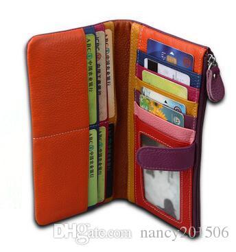 wholesale New Design Fashion Soft Genuine Leather Wallet Women Purse Female Clutch Wallets Ladies Cowhide Long Cellphone Bag