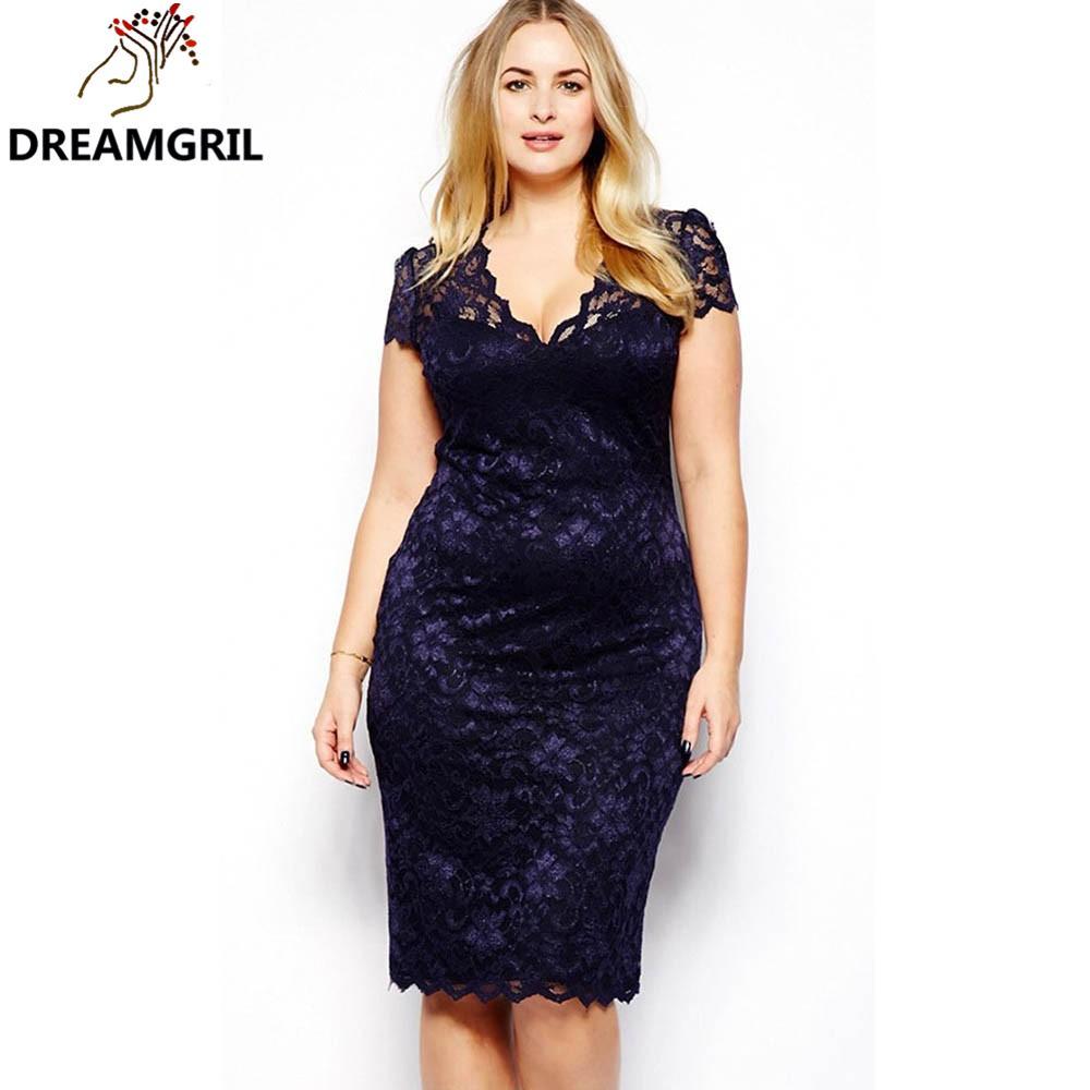 Wholesale- HY89 New Style Women Summer Dress Plus Size 3XL Sexy Pencil Bodycon Dress Short Sleeve V Neck Slim Fit Blue Lace vestidos XXXL