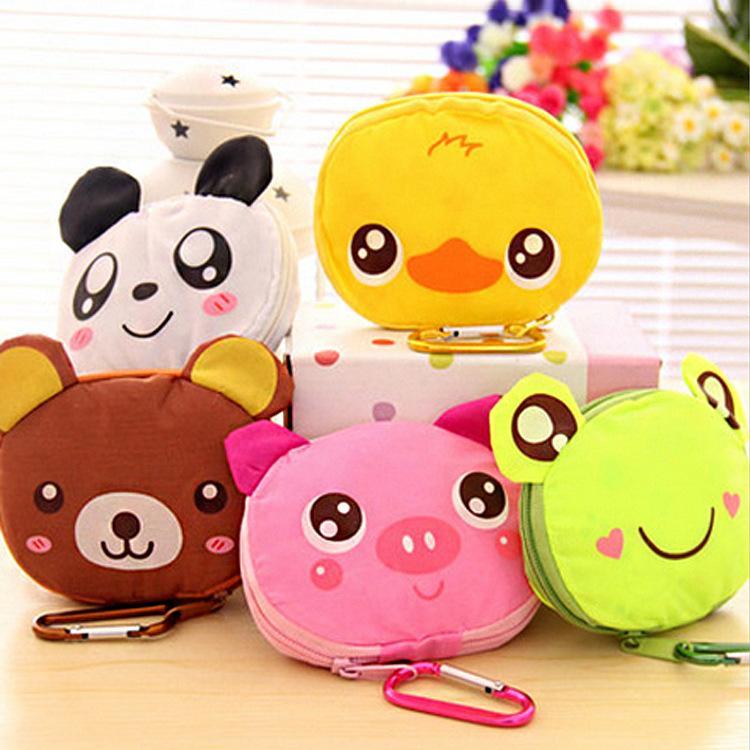 Мультфильм животные Складного Складной Покупки Tote многоразового Eco Bag Panda Frog Pig Медведь водонепроницаемых сумки сумка для хранения