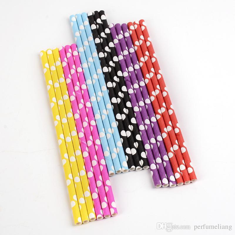 600pcs couleur envoyer à mélangé au hasard modèles Chevron rayé Polka Dot Potable Pailles De Papier pour la fête faveur Livraison gratuite JF040