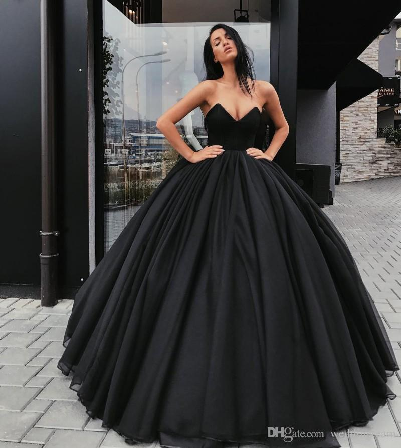 Black Strapless Ball Gown