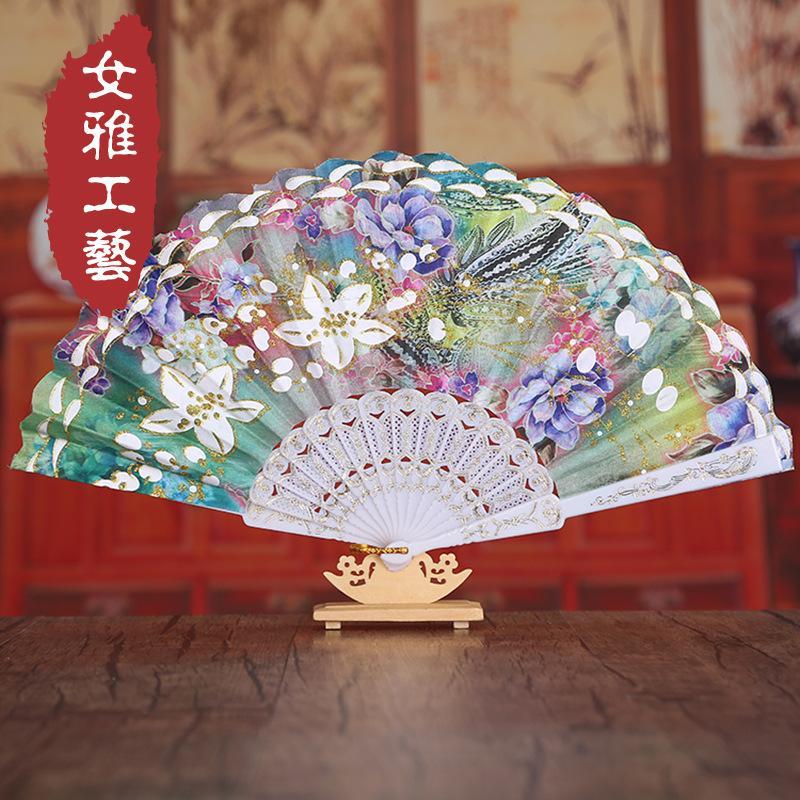 Pano de meyeri Picea ventilador de vento Chinês * * hot ouro bauhinia flor broto de seda pano europeu osso de plástico fã de dança atacado