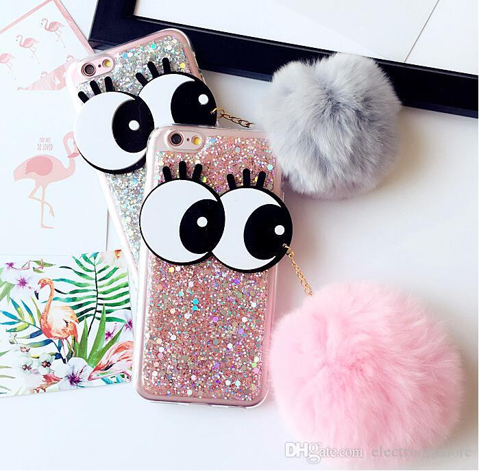 the best attitude e4bf9 18d72 New Case For Iphone 7 7 Plus Cute Eyes Fur Ball Glitter Soft Tpu Back Phone  Cases Cover For Iphone 6 6s 6plus 6splus Case Fashion Cell Phone Cases ...