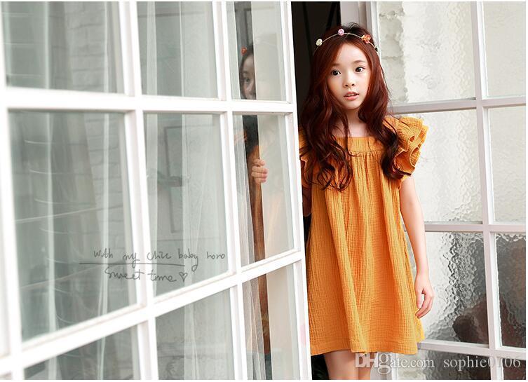 Big Girls Orange Short sleeve Cotton Dresses Baby clothes Baby girl Princess dress Children dresses Fashions Kids clothes Girl clothing