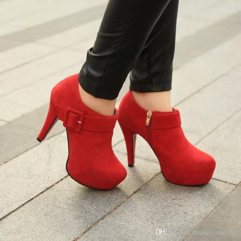 free shipping factory price hot seller high heel round nose platform frosted flock napped leather Buckle women short boot
