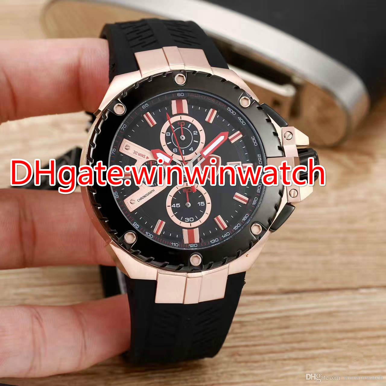 New style luxury men sports watches Racing Chronograph black rubber strap stainless steel 43mm limited wristwatch Free Shipping Mens Watches