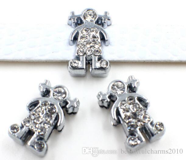 Groothandel 100 stks / partij 8mm steentjes meisje schuif bedel diy sieraden bevindingen passen voor 8 mm polsband armband als geschenk