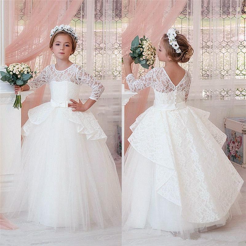 Белый или слоновая кость формальный тюль на заказ милые платья девушки цветка бальное платье длиной до пола маленькие дети ну вечеринку день рождения платье принцессы 26