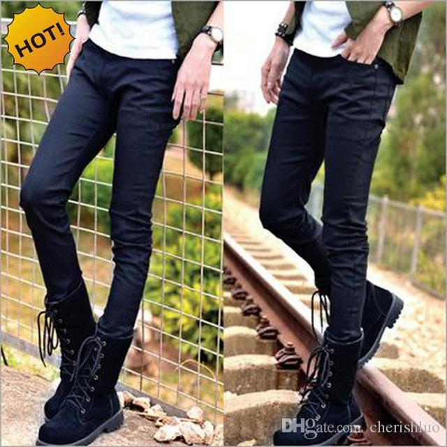 Hot Style Boys Slim Fit Jeans Teenagers Thin Denim Solid Casual Cheap Black Bottoms Cuffed Strech Handsome Harem pencil Pants 28-34