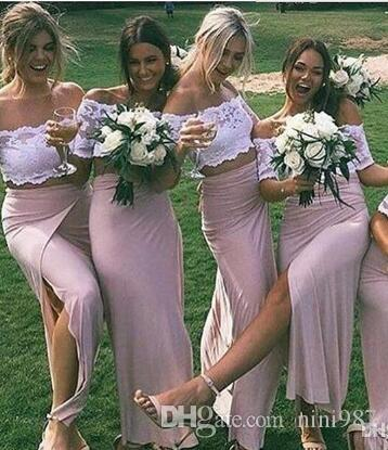 Chic Two Piece Pink Lace Bridesmaid Dresses with Side Slit Short Sleeve Sexy Occasion Formal Gowns Stretch Satin bridesmaid dresses Long