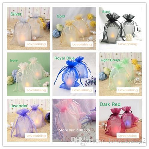 """18 colores-100pcs 10cm * 15cm (4 """"x6"""") bolsa de organza pura bolsa de organza del bolso del regalo del favor de la boda"""