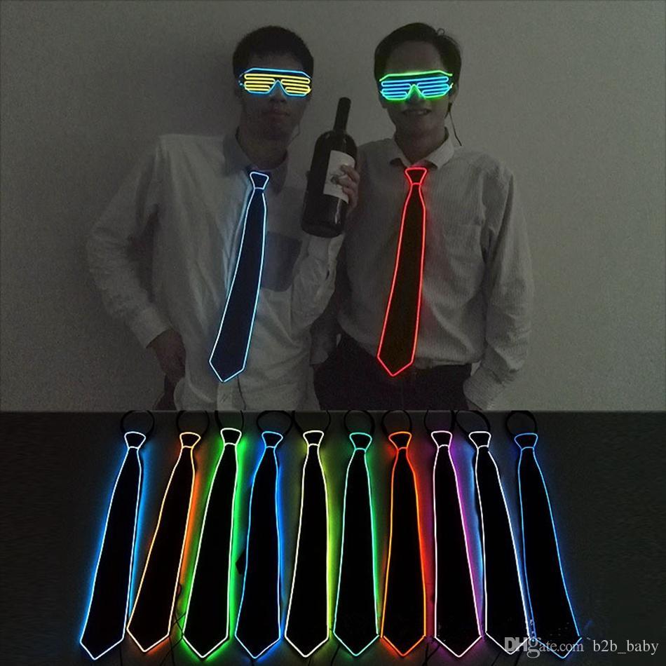 GLowing EL Tel Boyun Kravat Kulübü Için 10 Renkler LED Flaş Erkekler Kravat Cosplay Akşam Parti Dekorasyon OOA2096