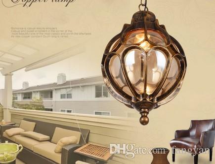 Vintage outdoor balcony glass ball chandeliers European grape waterproof aluminum Chandelier E27 bulb