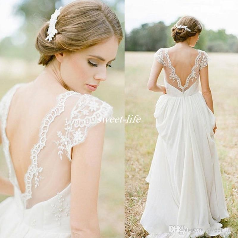Discount Cheap Bohemian Wedding Dresses 2017 Open Back Cap Sleeves Chiffon A Line Handmade Lace Bridal Gowns For Country Wedding Floor Length Fitted