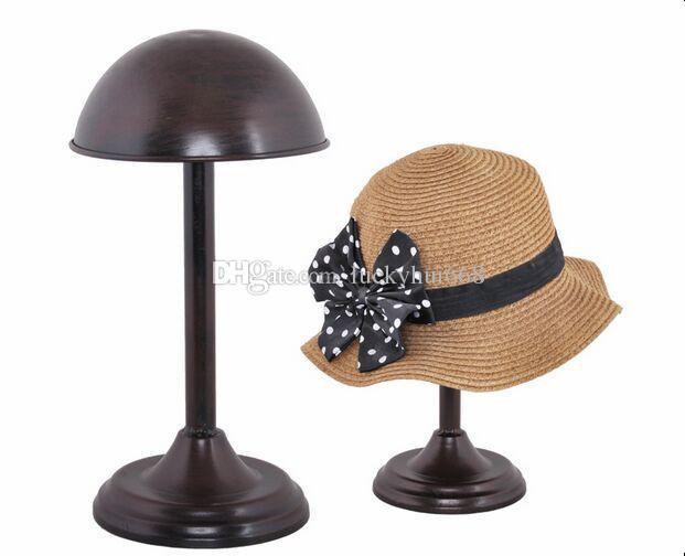 Venda quente Bronze hat cap display stand cremalheira dos homens Das Mulheres moda peruca de metal titular da exposição peruca de seda cachecol mostrando suporte