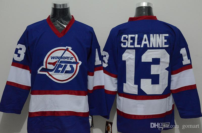 9991a134 ... 2017 Winnipeg Jets Men Jersey 10 Dale Hawerchuk 13 Teemu Selanne White Blue  Ccm Throwback Stitched ...