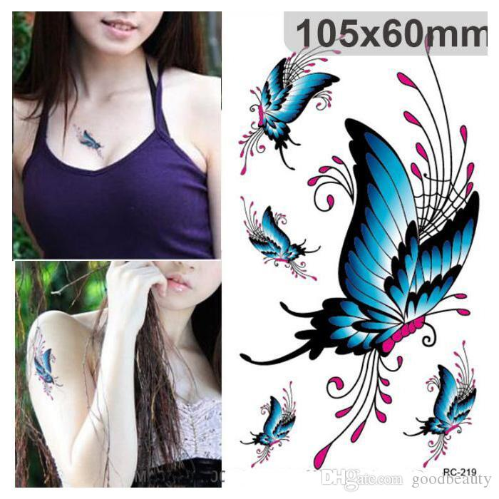 Butterfly Design Women Waterproof Temporary Tattoo Sticker Sexy Chest Tattoo Scars Cover Flash Tattoo Decal 50pcs/lot free shipping