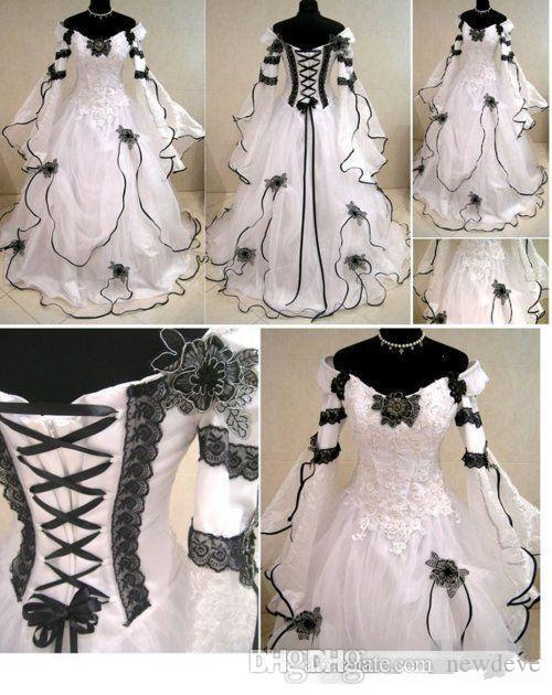 Discount Vintage Plus Size Gothic A Line Bridal Dresses With Long Sleeves Black Lace Corset Back Sweep Train Wedding Gowns For Garden Tea Length