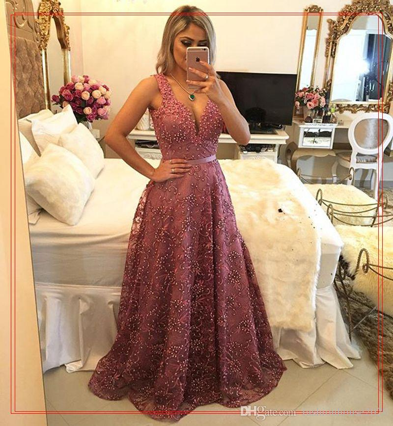 Hot Sale Evening Dresses 2020 V Neck Lace Crystal Beaded Sleeveless Long Sexy Open Back Plus Size Formal Evening Gowns Prom Party Dress