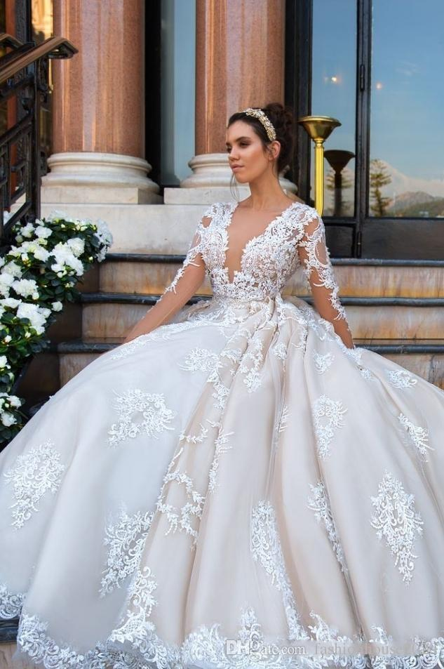 2018 Luxury Wedding Dresses Plus Size Lace Appliques 3D Floral Flowers  Blush Pink Ball Gown Deep V Neck Long Sleeves Formal Bridal Gowns Non White  ...