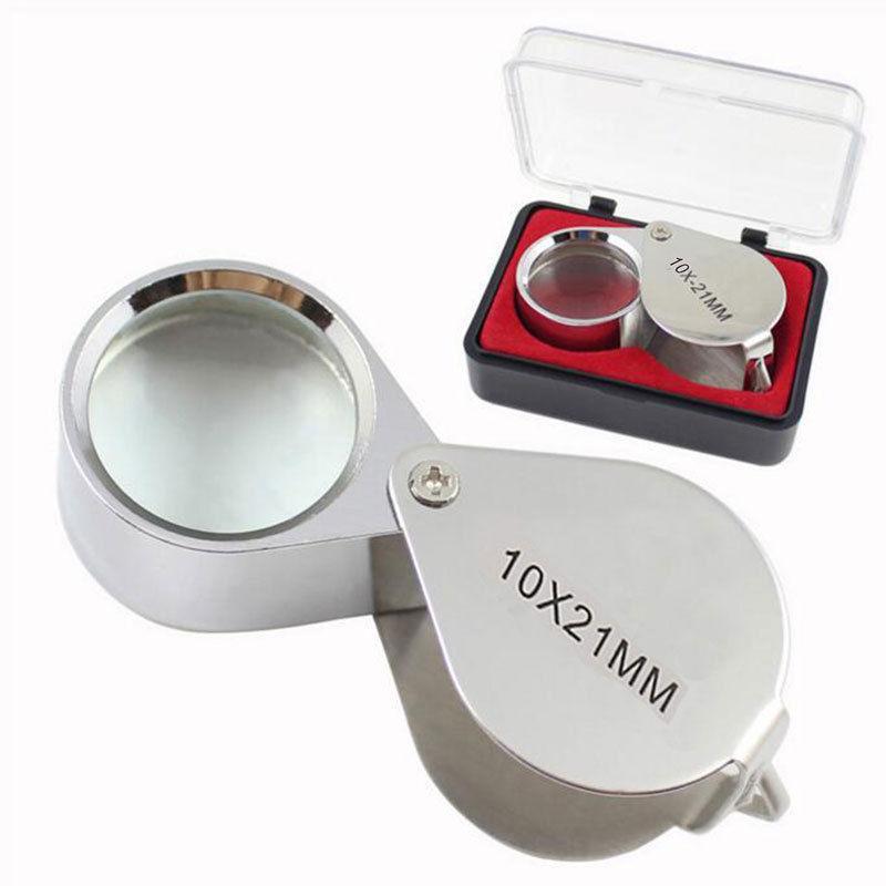 Lente in vetro pieghevole con lente d'ingrandimento pieghevole per lente di ingrandimento per gioielli in metallo 10X 21MM