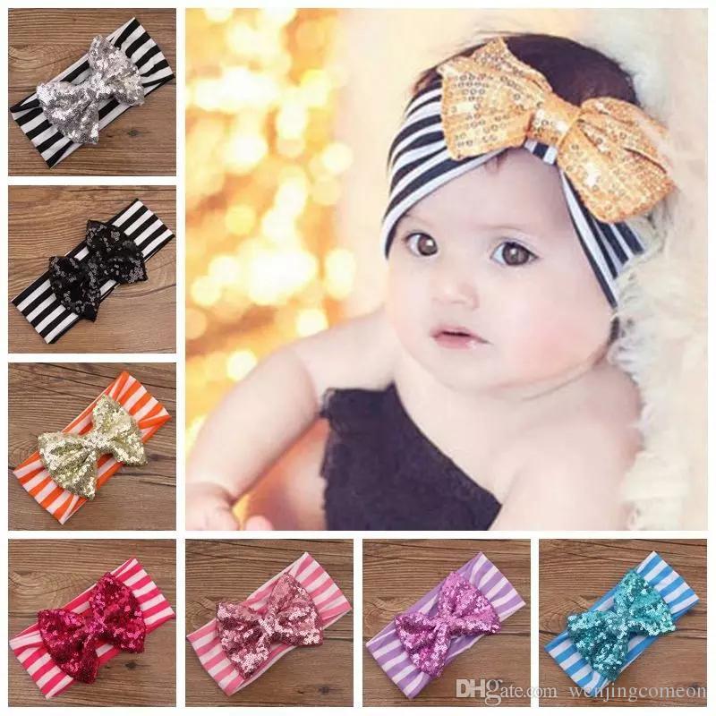 11 farbe neue mode mädchen bogen streifen stirnbänder baby pailletten bowknot stirnband mädchen gestreiften baumwolle stirnbänder handmade baby zubehör