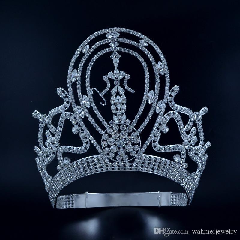 Pageant Crowns Tiaras Lager Регулируемая мисс Pageant Winner Queen Bridal Свадебная принцесса Волос Ювелирные Изделия для Party Prom Shows Headdress MO134
