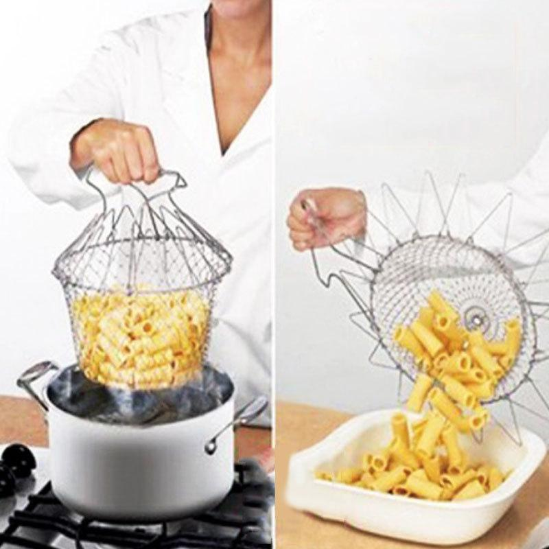 Foldable Steam Rinse Strain Fry Chef Basket Strainer Net Kitchen Portable Cooking Tool