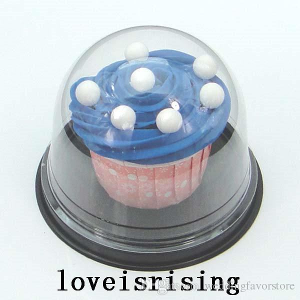 50pcs = 25セット透明なプラスチックカップケーキケーキドームの好意箱コンテナの結婚式のパーティーの装飾ギフト用の箱ウェディングケーキボックス用品