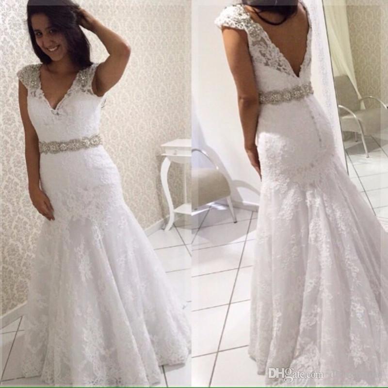 Cap Sleeve V Neck Mermaid Lace Wedding Gowns Crystal Beaded Waist Bridal Dress Open Back Wedding Dresses Vestido de Noiva Robe De Mariage