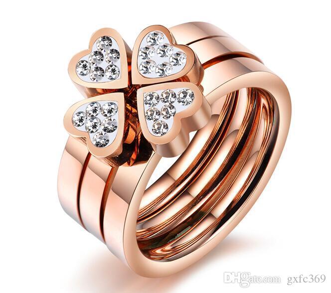 Ms actúan el papel de ofing es probado Happy lucky love amor set sinfin Anillo de acero titanium plateado oro rosa
