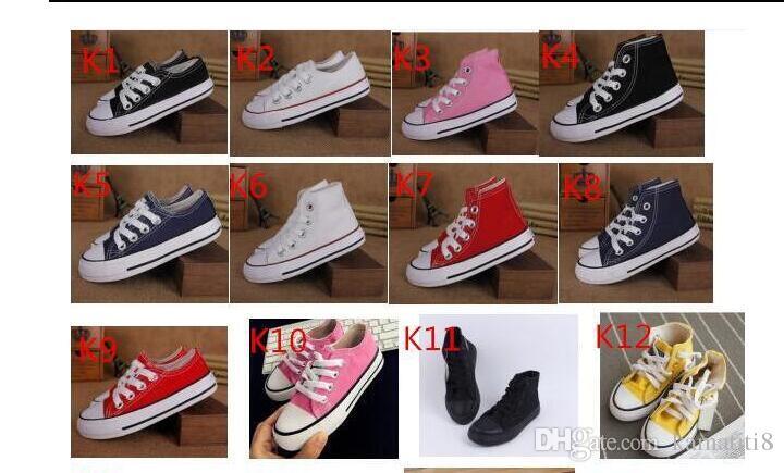 15Color style classique Toutes Les Taille 24-34 Basse haute Style haute Style Toile Chaussures Sneakers enfants garçons filles casual Chaussures Casual Chaussures