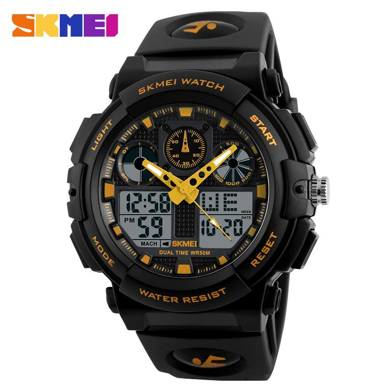 SKMEI 1270 Men Sports Watches Digital Double Time Chronograph Watch Watwrproof Week Display Wholesale Wristwatches Relogio