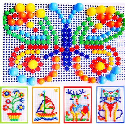 296pcs colorful mushroom nail puzzle intelligent plastic educational flashboard toys Jigsaw puzzle game Mosaic Pegboard flapper