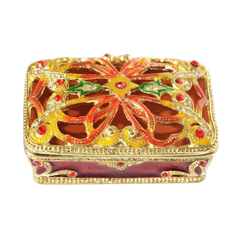 Квадратная выдолбленная коробка, украшенная драгоценностями, брелок, металлический сплав, золотая шкатулка для драгоценностей, кольцо для подарка для ее декоративной столешницы.