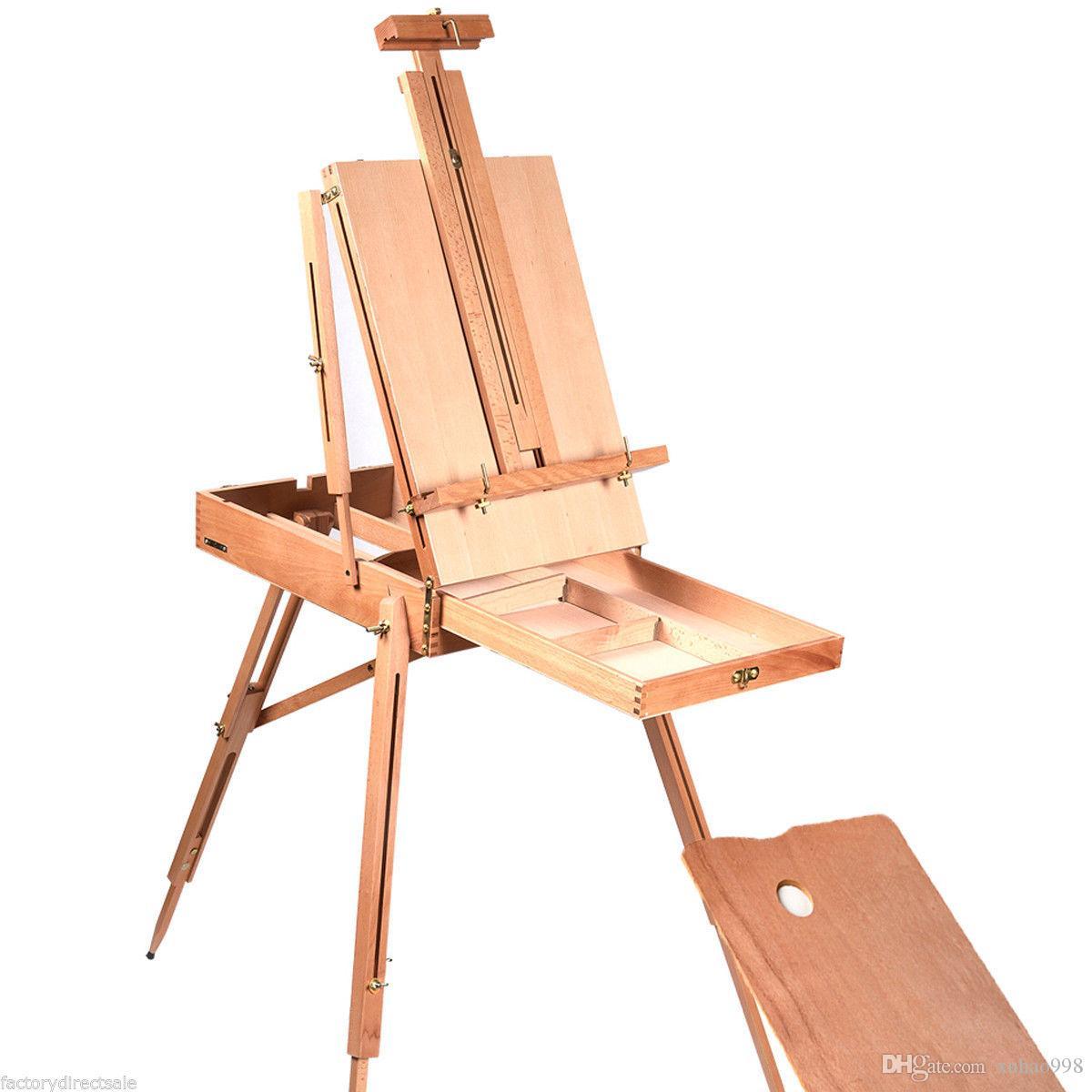 Français Chevalet en bois Sketch Box Folding Durable Artiste Peintres Trépied