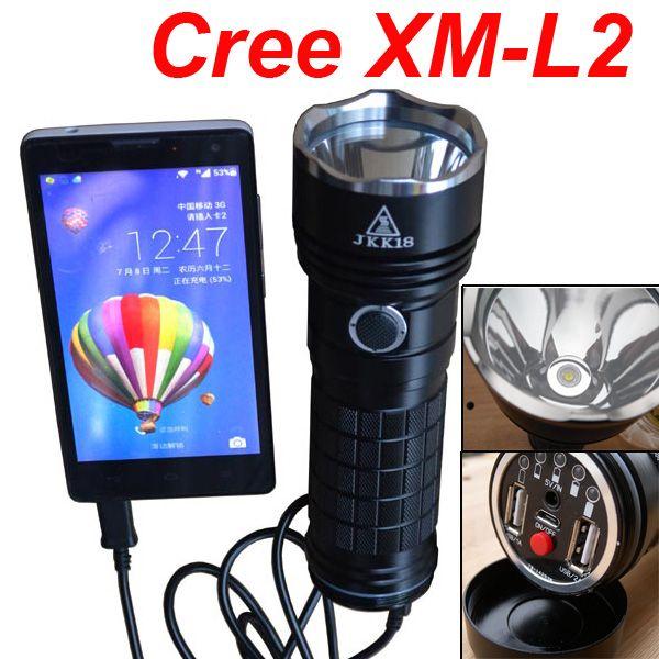 Waterproof Aluminum Alloy Cree XM-L2 U2 LED 5 Modes Dual USB Flashlight 18650 DIY Mobile power bank box Charger