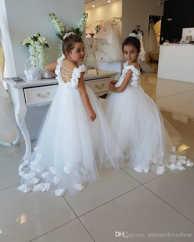 2017 Nouveau Belle Blanc Tulle Dentelle Fille De Fleur 'Robes' Backless Perlé 3D Floral Étage Longueur Robes De Fête De Mariage