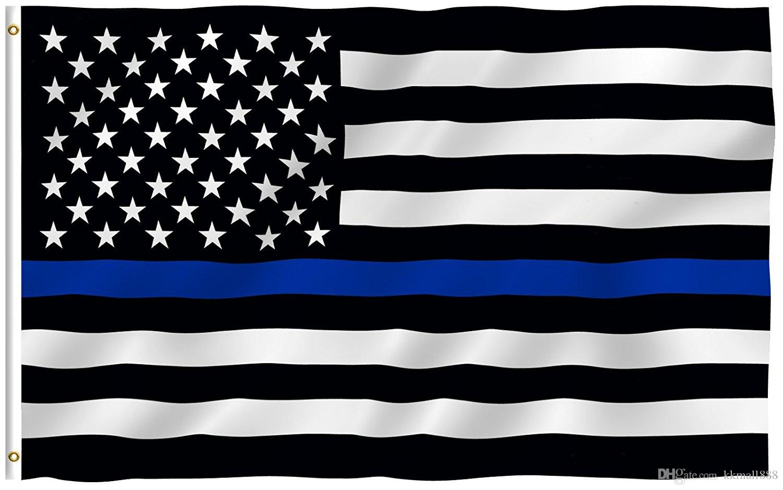 3 x 5 Fuß dünne blaue Linie USA Flagge lebendige Farbe und UV verblassen resistente Canvas Header und 4 Reihen genäht Polyester mit Messing Ösen