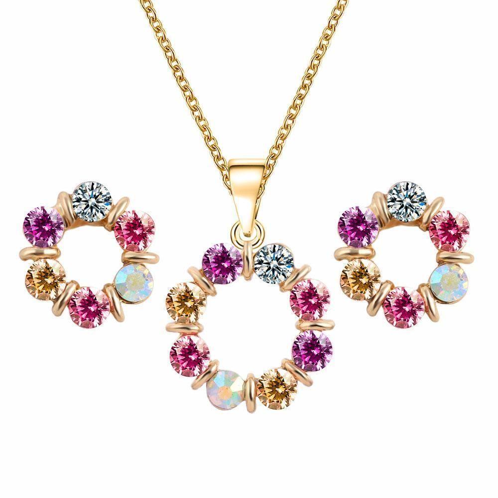 Juego de joyas de dama de honor Colgante colgante de cristal de boda Conjunto de joyería de oro de Dubai 18k Joyería africana India