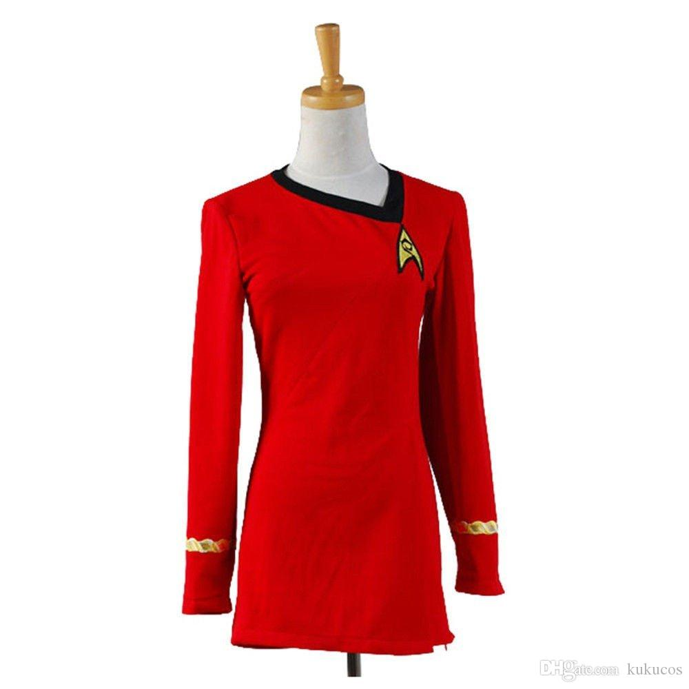 Kukucos Film Figure Star Trek Cosplay Devoir Deluxe Bleu Robe Rouge Uniforme Cosplay Costume Femmes D'été Robe Sexy Costume