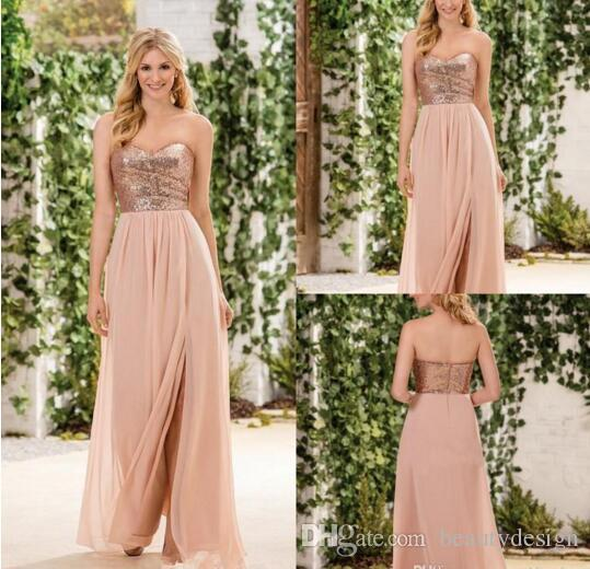 2017 Jasmine Rose Gold Sequind Bridesmaid Dresses Side Split A Line Chiffon Skirt Sweetheart Maid Of Honor Gowns Wedding Guest Party Dresses