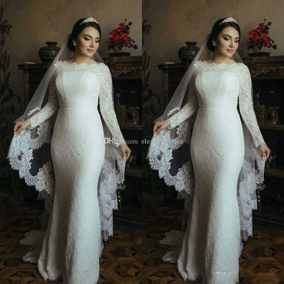 Новое Прибытие Мусульманские Свадебные Платья С Длинными Рукавами Полный Кружева Труба Свадебные Платья Sweep Поезд 2017 Свадебное Платье