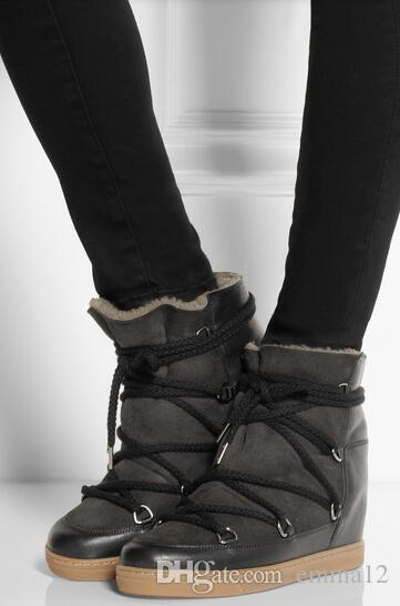 Stivali da neve in pelliccia calda inverno Stivali in pelle da donna con zeppa nera in pelle Altezza pizzo sempre più casual da donna