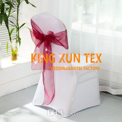 Wholesale Price 100pcs White Lycra Spandex Chair Cover With 100pcs Colors Organza Chair Sash Free Shipping