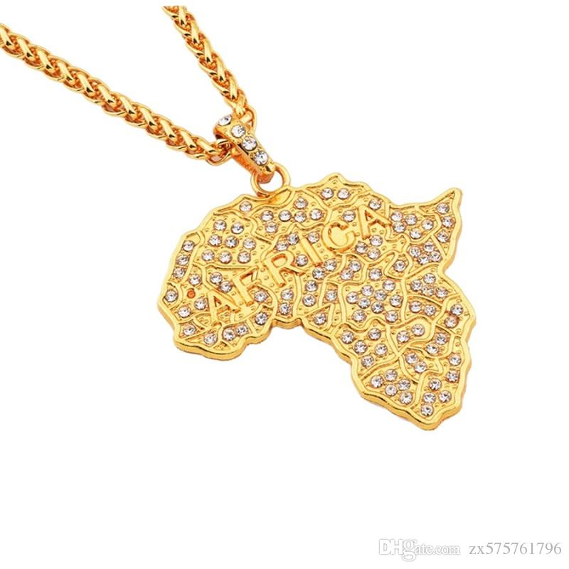Fashion Men Hip Hop Necklaces Map of Africa Big Pendant Jewelry Full Rhinestone Design Punk Rock Rap 18k Gold Plated 70cm Long Chain