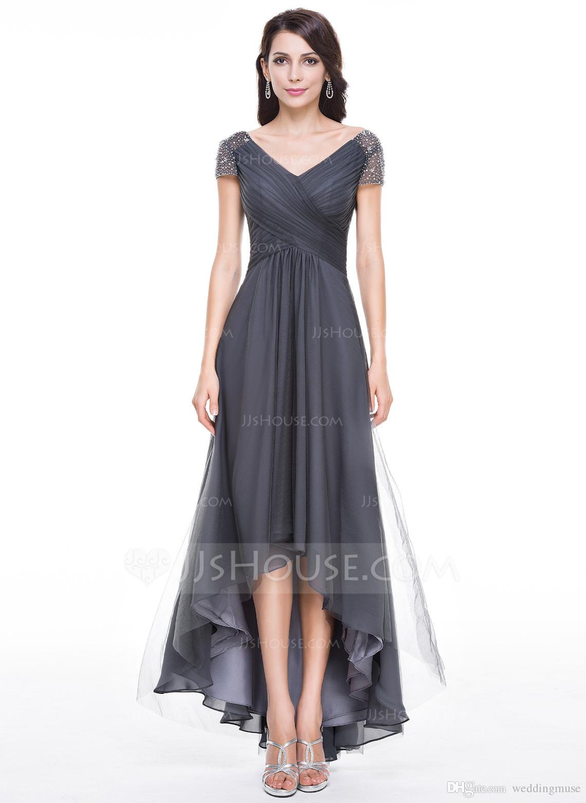 Hot 2018 Mother Of The Bride Formal V Neck Short Sleeve A Line High Low  With Beaded Chiffon Grey Mother Groom Dresses Plus Size Mother Of The Bride  ...