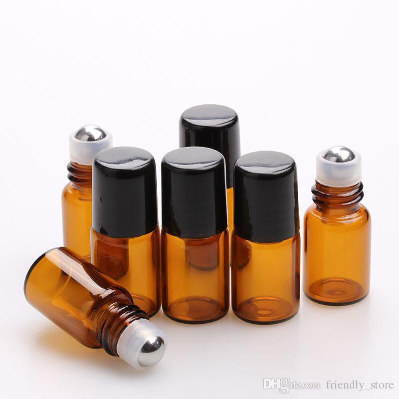 600pcs/lot Empty Perfume Sample vials 2ml Small Amber Roller Bottles Essential Oil Glass Bottle 2 ml Roll-On Bottle Black Plastic Cap